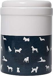 MOG & BONE Ceramic Treats Canister Blue Stripe Print