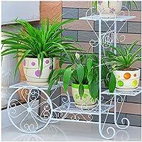X-花棚 植木鉢ラック フラワースタンド フラワーカートラックディスプレイ メタル 屋内 フラワーポット棚 庭の装飾 植木鉢ホルダー (Color : White, Size : L)