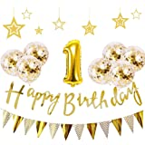 1歳 誕生日 飾り付け 21点 セット - Gehome ゴールド バースデー バルーン 飾り 男の子と女の子用(1歳…
