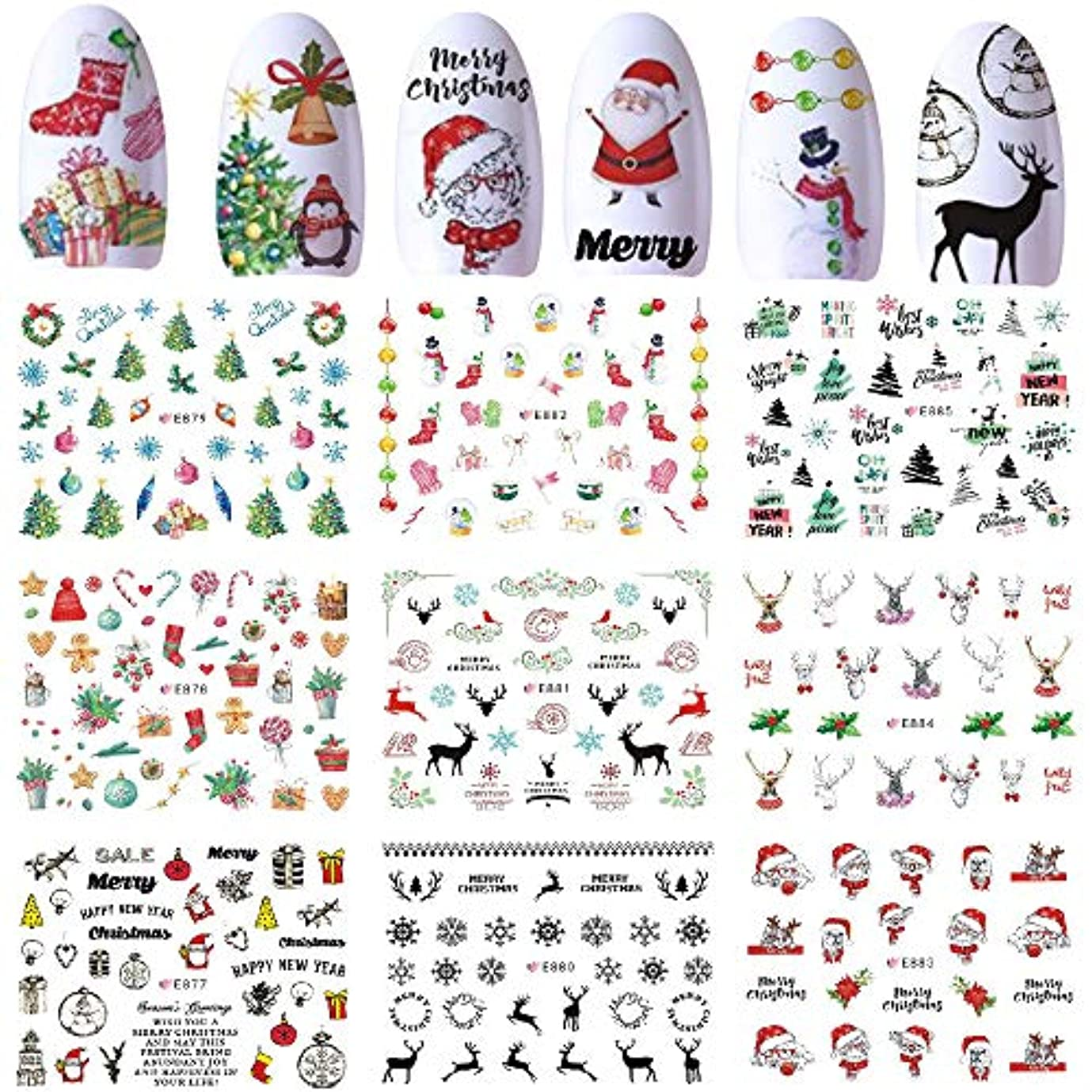 過言チョコレート雄弁なクリスマステーマテッカー ジェルネイルに埋め込み ランダムパータンネイルパーツネイルアート