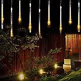 Solar Lights Tree Outdoor 10 Tubes Waterproof Meteor Shower Rain Lights Falling Rain Drop Christmas Light Cascading String Li