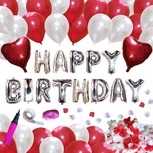 IGRESS 誕生日 飾り付け 特大 バースデー アルミ バルーン 装飾セット ハンドポンプ 両面テープ付き