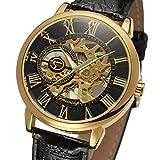 GuTe出品 腕時計 メンズ 手巻き スケルトン 革バンド アンティーク風 機械式 ブラック ゴールド