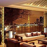 Ansyny カスタム3D写真の壁紙壁ヨーロッパ市建物夜景背景ソファ寝室壁画壁紙用リビングルーム-130X100Cm
