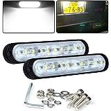 Chelhead 2 PACK 12V Mini Day Time Running Light Bars 5.7 Inch 6500K White Bumper Fog Light Backup Reverse Lights 24V Trucks S