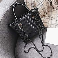 CMNB バッグ 韓版新金小香風チェーンの女性バッグカジュアル百掛けしわのハンドバッグ,黒