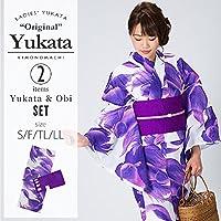 [KIMONOMACHI] 浴衣セット「パープル 熱帯魚」S,F(フリー),TL,LL 女性浴衣セット