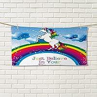 warmfamily KidsモダンハンドタオルユニコーンSurreal Myth Creature前Rainbow Clouds StarファンタジーGirls Fairytale imagevalentinesマルチカラー 12