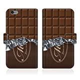 Evis Club 手帳型 スマホケース 薄型 Y!mobile Android One 507SH 板チョコ スゥィート カカオ チョコレート お菓子 パロディ 2415