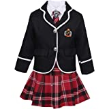 JEATHA Kids Girls Long Sleeves British Style School Uniforms Anime Cosplay Shirt Blazer with Tie Plaid Mini Skirt Set