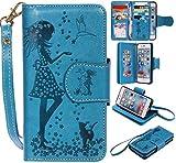 iPhone6 iPhone6s ケース カード収納 手帳型 ウォレット型 スタンド機能 ケース ストラップ付き 落下防止 マグネット開閉式 財布型 カバー iPhone 6 iPhone 6s ケース (P5 ブルー)