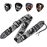 WIRESTER Guitar Strap + Picks, 5Pcs Set for Guitar Bass, Acoustic and Electric Guitar - Skull