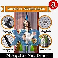 磁気ドア画面マジックメッシュカーテンフルフレームVelcro Mosquito Net、緊密に自動的に閉じKeepバグアウト、Lets Fresh Airで、幼児用ペットに優しい 3 pack-36''x83''-Brown ブラウン JL300007B