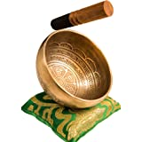 Tibetan Handmade Singing Bowl Set By YAK THERAPY - Om Mani Padme Hum - Excellent Resonance Healing & Meditation Yoga Bowl wit