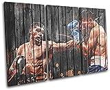 大胆なブロックデザイン - Amir Khan Boxing Sports TREBLE キャンバスアートプリントボックス額入りピクチャーウォールハンギング - 英国製ハンドメイド - 額入りですぐに掛けられます (D) 150x100cm 03-2195(00B)-TR32-LO-D