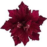 KI Store Large Christmas Poinsettia 6pcs Burgundy Artificial Flower Picks Spray for Christmas Tree Decoration Wreath Garland