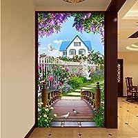 Weaeo 写真の壁紙3D自然の景色木製の橋の壁画リビングルームレストランエントランス背景の壁画-280X200Cm