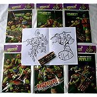 12のセットTMNT Teenage Mutant Ninja Turtlesカラーリングブックandクレヨンセット子供パーティーFavorsバッグフィラー