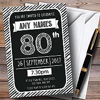 ブラック&ホワイトStripy Deco 80th Personalized誕生日パーティー招待状 90 Invitations