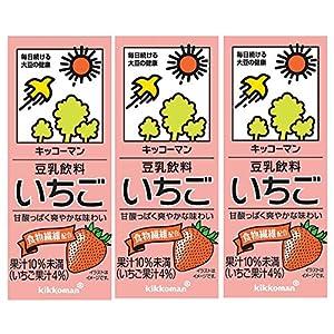 キッコーマン 豆乳飲料いちご 200ml×3本