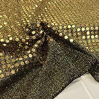 スパンコール 生地【ブラック・ゴールド】コスプレなどの衣装・コスチューム作り、装飾などにオススメです。 布 布地 手芸【1m単位】