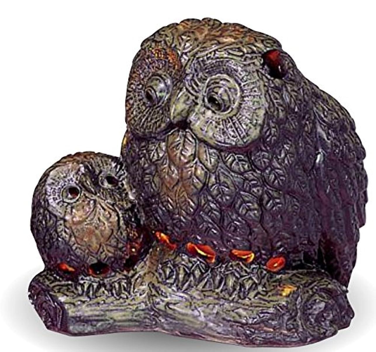センターフェードアウト乳常滑焼 茶香炉(アロマポット)親子フクロウ 径12.5×高さ13cm