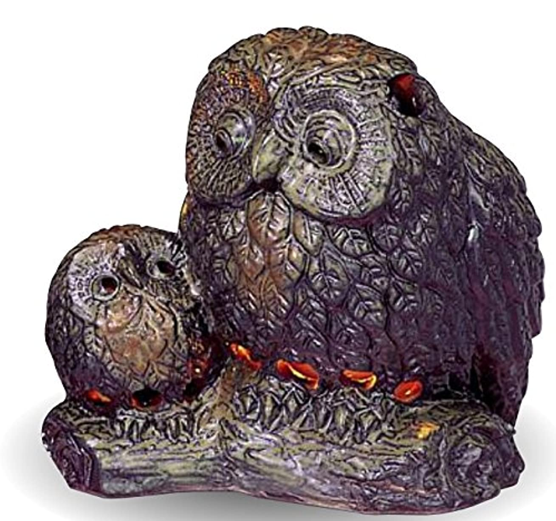爬虫類右独占常滑焼 茶香炉(アロマポット)親子フクロウ 径12.5×高さ13cm