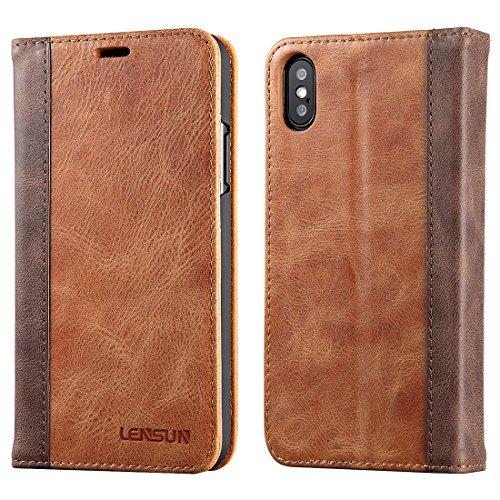 マグネット不使用 iphone x ケース 手帳型,ワイヤレス Qi 充電対応 本革 レザー カード収納 スタンド機能 手帳 アイフォン X 用 カバー LENSUN