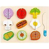 Toyvian Wooden Jigsaw Puzzles Educational Fruit Matching Cutting Toys Pretend Play Food Set Montessori Pattern Blocks Kids Sh