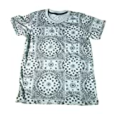 (ノーブランド品)ペイズリー バンダナ柄 総柄 ストリート系 スケーター メンズTシャツ おもしろTシャツ 半袖 (L) [並行輸入品]