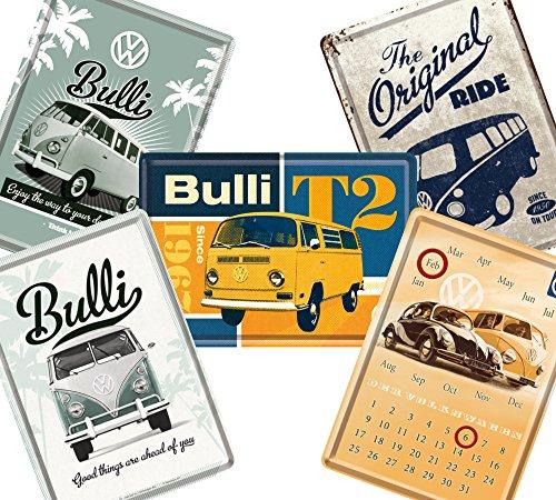 フォルクスワーゲン (B) / ポストカード はがき 4枚 & 卓上 カレンダー 1個 (ブリキ製) セット