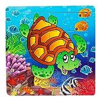 trendinao Kids木製16Piece Tortoise Jigsaw Toys For Children教育と学習