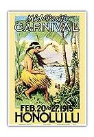 1915ミッドパシフィック・カーニバル - ホノルル、ハワイ - ビンテージなカーニバルのポスター c.1915 - アートポスター - 23cm x 31cm