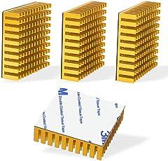 ヒートシンク 接着シート付き 熱暴走対策 冷却ラジエーターフィン アルミニウム CPU ICチップ 回路基板 LEDアンプに適用 4個入り 40mm×40mm×11mm