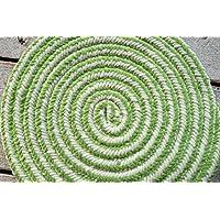 かわいい 洗える 円形 ラグマット candyr-90en(SUL) グリーン 【円形】 約90×90cm チューブマット ラグ ウォッシャブル グルグル ホットカーペット対応 渦巻き green 緑 円 丸 丸い
