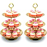 Two Set of Three Tier Cake Stand and Fruit Plate by Imillet -Stainless Steel Stand of Golden for Cakes Desserts Fruits Candy
