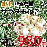 玉ねぎ サラダ玉ねぎ 送料無料 新玉 1.2kg S~L 熊本県産 2セットで1セットおまけ 3セットで3セットおまけ 玉葱 たまねぎ 野菜