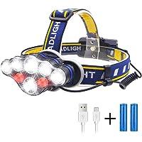 ヘッドライト Lukasu USB充電式 LEDヘッドランプ 超高輝度 18000ルーメン IPX4防水 軽量 へっとライト18650バッテリー付き 8つ点灯モード 90°調整可能 夜釣り/防災/登山/キャンプ