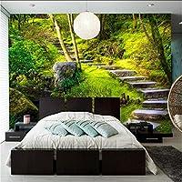 Lcymt 写真の壁紙緑の森の石段3D壁の壁画の寝室のリビングルームテレビソファの背景壁紙の装飾-350X250Cm