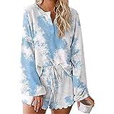 Loyomobak Women Tie Dye Pajama Set Lounge Wear Set Two-Piece Sleepwear Tops and Shorts