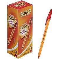 ビック 油性ボールペン オレンジ 1.0 赤 20本 E-ORMJ20EGRED