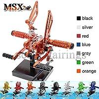 MSX-moto 可倒式 調整型 CNC アジャスタブル バックステップ 適応スズキ Suzuki GSXR750 1996-2005,GSXR600 2000-2005 GSXR1000 2000-2004 オレンジ
