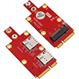 HLT M.2 (NGFF) Key B to Mini PCI-E Adapter with Dual NANO SIM card Slot for 3G/4G/5G Module
