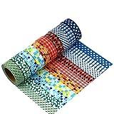 manzawa 和紙製マスキングテープ ラッピング デコレーション 剥がしやすい 和紙テープ DIY装飾カラフルシール 15mm幅×10m巻き 多色(10巻セット) (図案1)