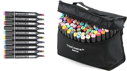 TouchNew マーカーペン 油性 80色 2種類のペン先 太字 細字 塗り絵、絵描き、落書きなどに適用