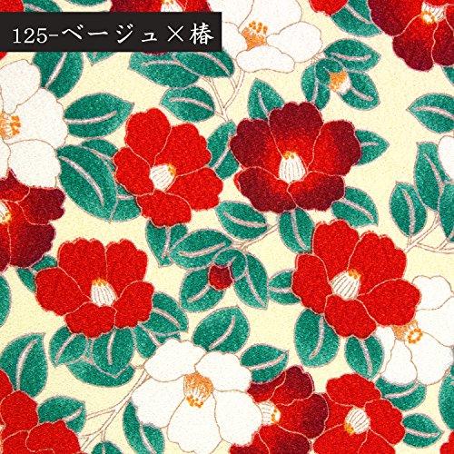 (キョウエツ) KYOETSU 日本製 和柄半衿 半襟 ちりめん生地 (125-ベージュ×椿)