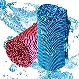 Exwell 冷却タオル 超冷感 クールタオル (2枚セット) 瞬冷 スポーツアイスタオル 速乾 軽量 超吸水運動タオル ひんやりタオル暑さ対策 熱中症対策 アウトドア ヨガ 運動 水泳 登山 夏フェス 炎天下作業など 旅行に最適 (ブルー+ローズレッド)