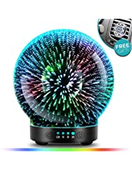 POBEES 3グラスアロマエッセンシャルオイルディフューザー - 最新バージョン 香り オイル加湿器7 花火 テーマプレミアム超音波ミスト自動オフ安全スイッチカーベントクリップカラー照明モードを主導