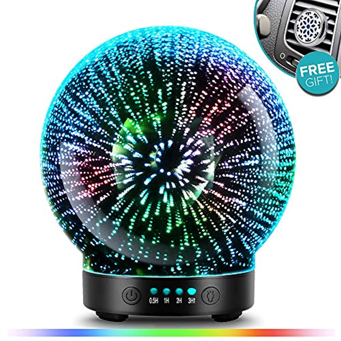 大統領勇気言うまでもなくPOBEES 3グラスアロマエッセンシャルオイルディフューザー - 最新バージョン 香り オイル加湿器7 花火 テーマプレミアム超音波ミスト自動オフ安全スイッチカーベントクリップカラー照明モードを主導