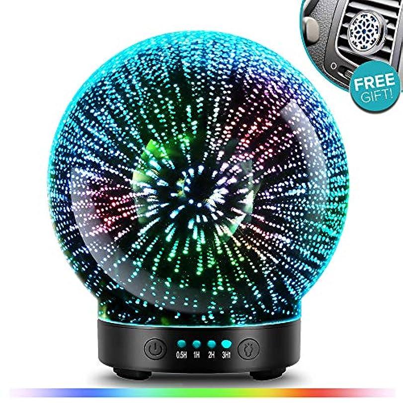 酔う小学生億POBEES 3グラスアロマエッセンシャルオイルディフューザー - 最新バージョン 香り オイル加湿器7 花火 テーマプレミアム超音波ミスト自動オフ安全スイッチカーベントクリップカラー照明モードを主導